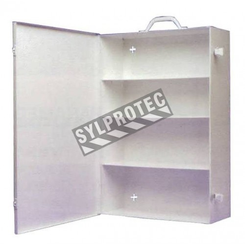 Wall-mounted, portable, metal first aid cabinet, with solid door panel and handle.