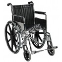 Folding wheelchair with steel frame and leatherette upholstery.