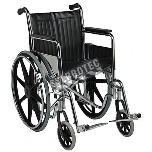 Chaise roulante pliante à structure en acier et revêtement en similicuir.