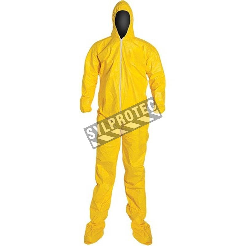 TYCHEM 2000 disposable yellow coverall with hood and boot covers, sold individually.