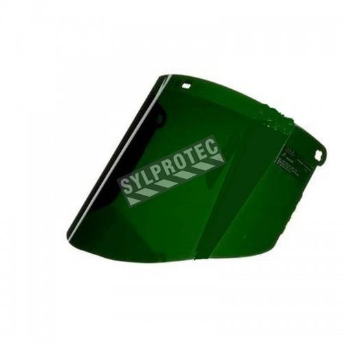 Visière pour soudeur en polycarbonate vert (IR 5.0) pour protection faciale sur mesure. Compatible avec porte-visières de 3M.