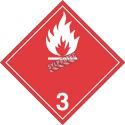 Flammable liquid, class 3,placard, 10-3/4 in X 10-3/4 in. Use in the transportation of hazardous materials.