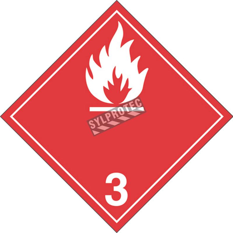 Liquide inflammable, classe 3, placard, 10-3/4 po X 10-3/4 po. Pour le transport des matières dangereuses.