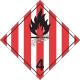 Solides inflammables, classe 4,  placard, 10 3/4 po x 10 3/4 po. Pour transport des matières dangereuses.