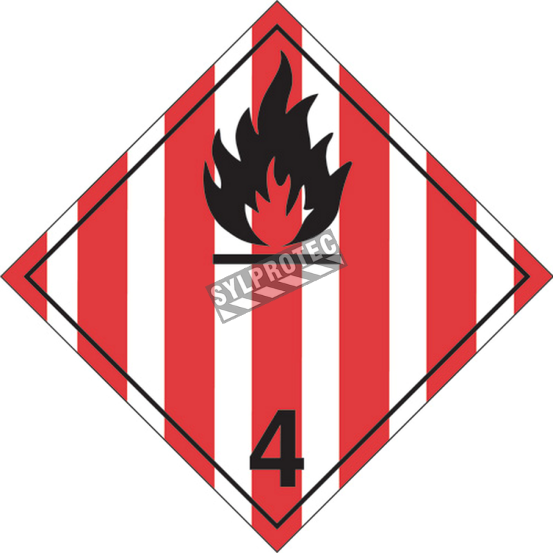 Flammable solids, class 4, placard, 10-3/4 in X 10-3/4 in. For transportation of hazardous materials.