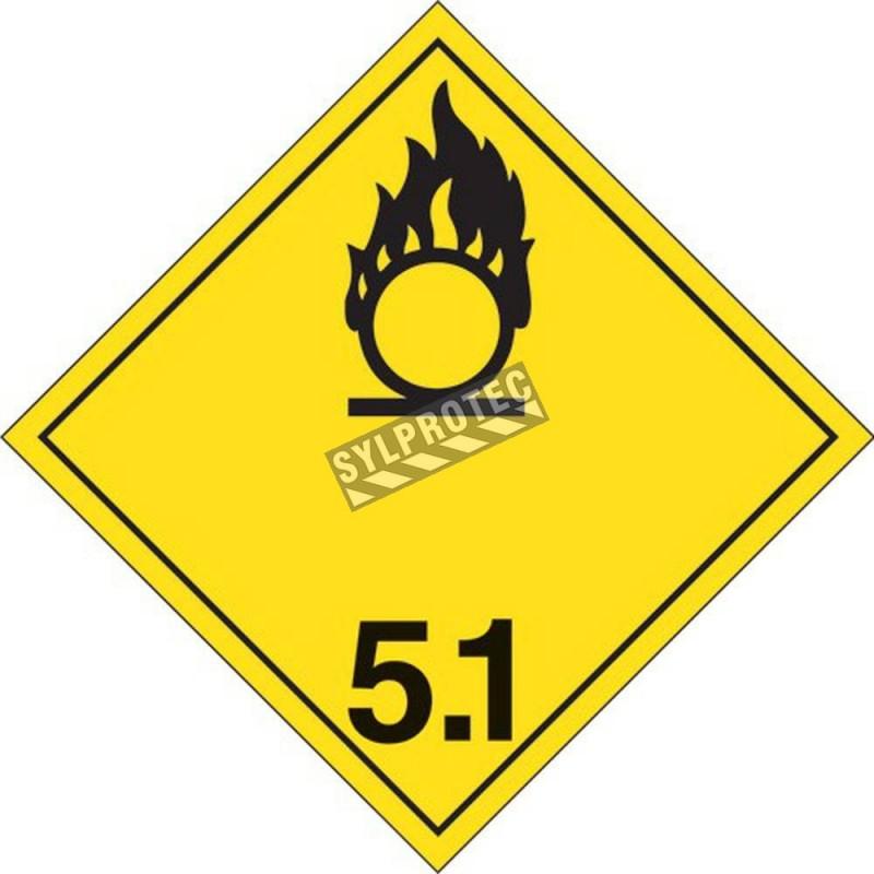 Oxydants classe 5.1, placard, 10-3/4 po X 10-3/4 po. Pour le transport des matières dangereuses.