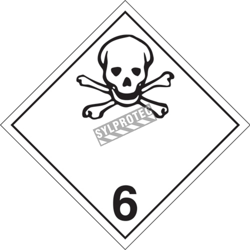 Toxic substances, class 6, placard, 10 3/4 in X 10 3/4 in., For the transport of hazardous materials.