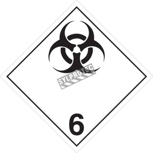 Infectious substances, class 6, placard, 10-3/4 in X 10-3/4 in. Use in the transportation of hazardous materials.