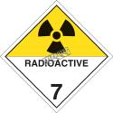 Matières radioactives, classe 7, placard, 10 3/4 po x 10 3/4 po., Pour le transport des matières dangereuses.