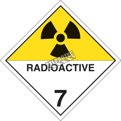 Radioactive materials, class 7, placard, 10 3/4 in X 10 3/4 in., For the transport of hazardous materials.