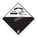Placard corrosif classe 8, 10-3/4 po., Pour le transport des matières dangereuses.