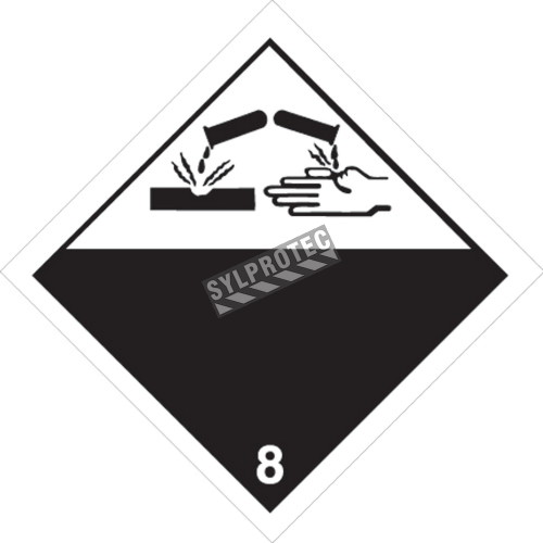 Corrosif placard classe 8, 10-3/4 in., For the transport of hazardous materials.