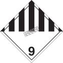 Matières dangereuses diverses, classe 9, placard, 10 3/4 po x 10 3/4 po., Pour le transport des matières dangereuses.