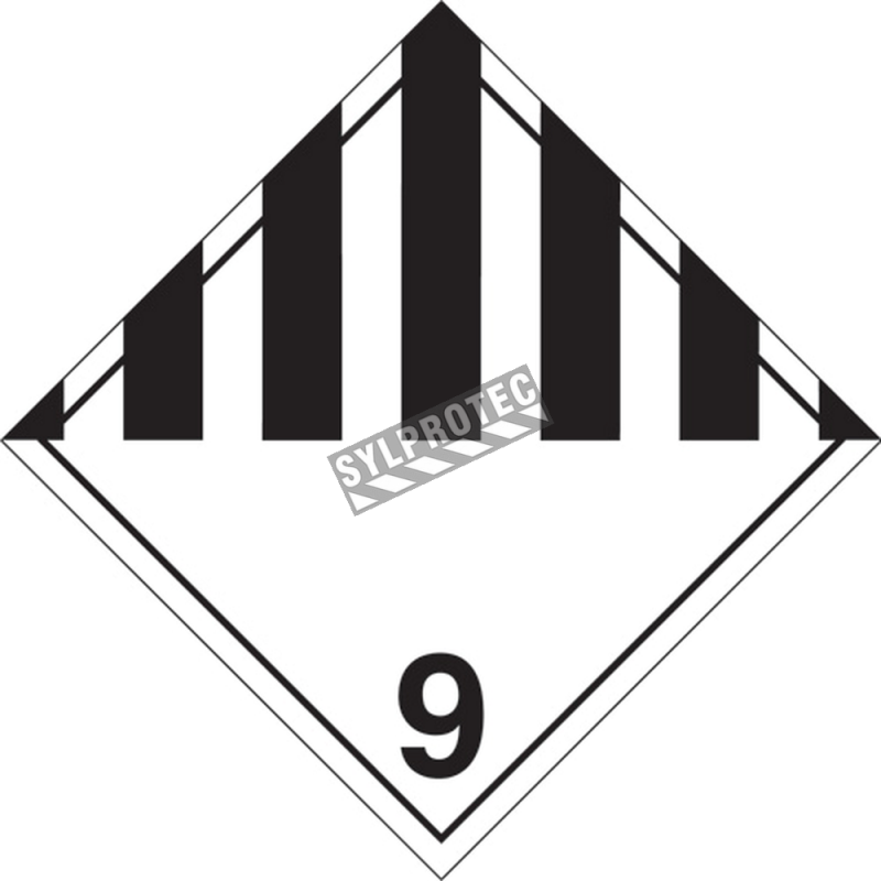 Miscellaneous hazardous materials, class 9, placard, 10 3/4 in X 10 3/4 in., For the transport of hazardous materials.