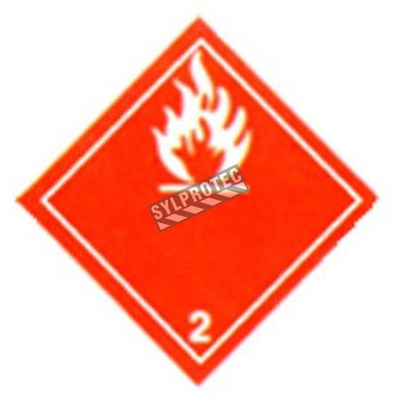 Gaz inflammable, classe 2 placard 10-3/4 po X 10-3/4 po. Utiliser dans le cadre du transport des matières dangereuses.