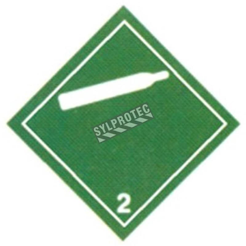 Gaz non-inflammable, classe 2, placard, 10-3/4 po X 10-3/4 po. Pour le transport des matières dangereuses.