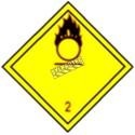Gaz oxydant, classe 2, placard, 10-3/4 po X 10-3/4 po. Pour le transport des matières dangereuses.