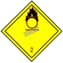 Oxidizing gas, class 2, placard, 10-3/4 in X 10-3/4 in. Use in the transportation of hazardous materials
