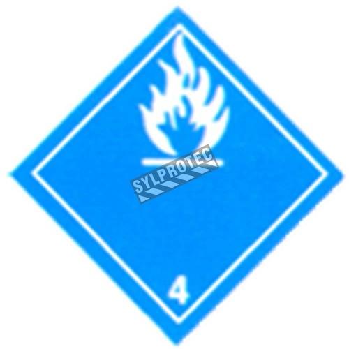 Dangerous when wet, class 4, placard 10-3/4 in X 10-3/4 in.
