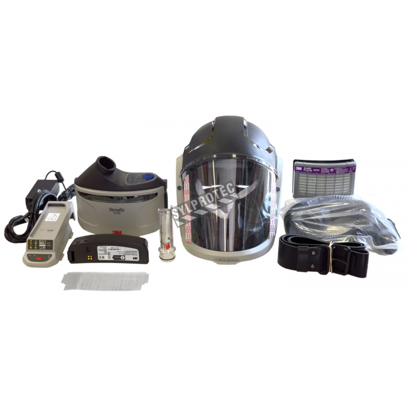 3M complete Versaflo powered air purifying respirator kit for industrial work. Hard hat facepiece and protective factor of 25.