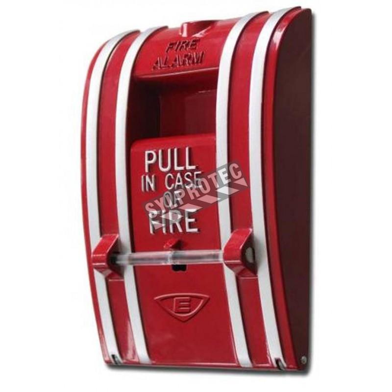 Station manuelle d'alarme d'incendie murale, modèle classique à   déclenchement en une étape.