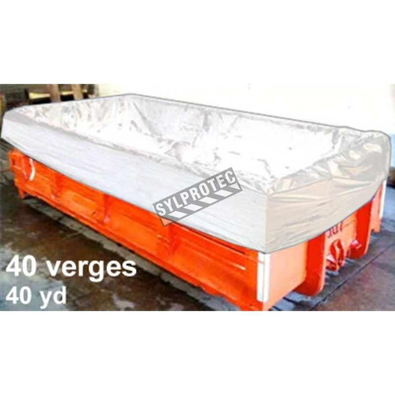 Liner bag for waste containers of 40 yd³/1080 ft³, 22'x8'x8'. Sold per unit. Ideal for asbestos or soiled dirt transportation