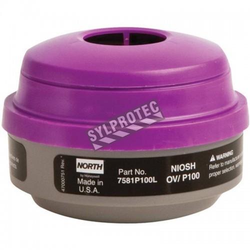 Cartouche combinée contre vapeurs organiques pour protection respiratoire séries 5400, 7600 & 7700 de North. Vendu à la paire.