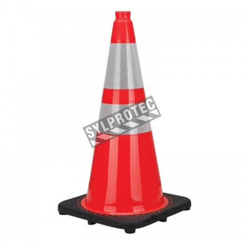 Orange traffic cone whit 2 collar, 28 in. long, weight: 7.5 lbs. Made from 100% PVC.