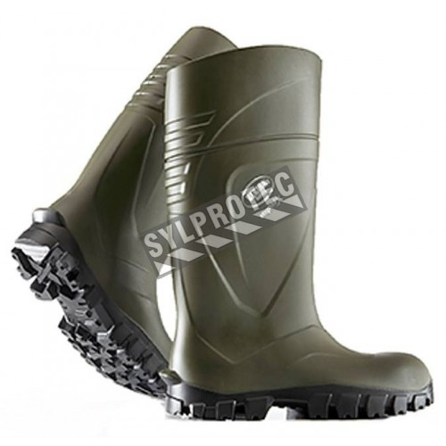 Bekina StepliteX waterproof green polyurethane boots with steel toe caps and steel soles, CSA Z195 compliant.