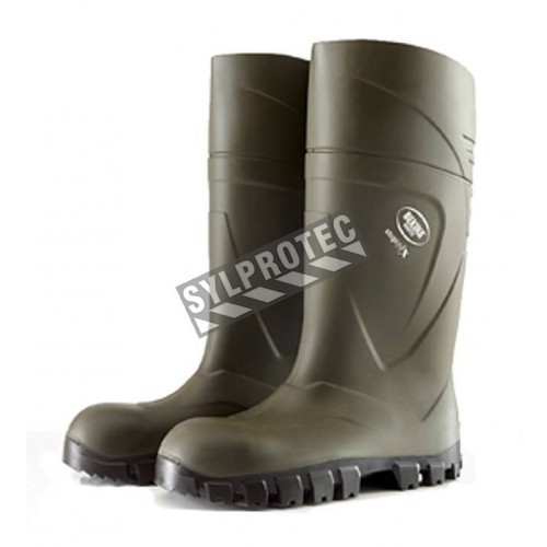 Bekina StepliteX waterproof green polyurethane boots with steel toe caps and steel soles, CSA Z195 compliant.