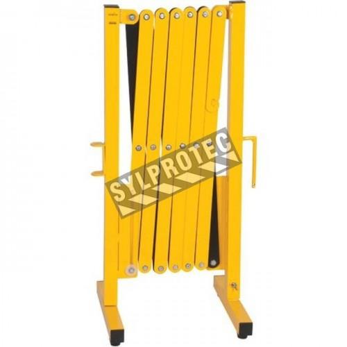 Barrière de sécurité extensible, 10 pieds (3 m), en aluminium peint en jaune.