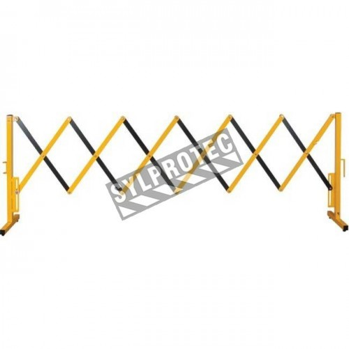 Expandable safety barrier, 10 feet (3 m), made of aluminium painted yellow.