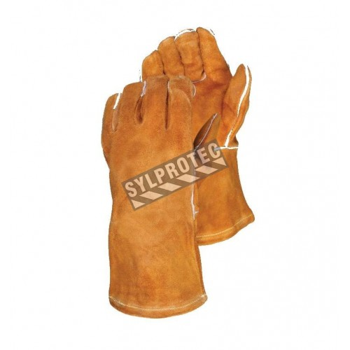 Welding red leather glove, lined with Kevlar
