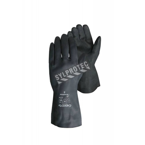 Superior Chemstop® heavy duty black neoprene gloves, 12 inches long, 30 mils thick.