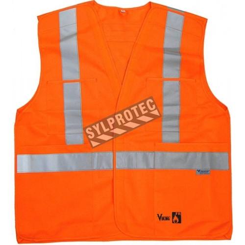 Orange trafic sash complies with silver stripes Class 2, Level 2, fire retardant