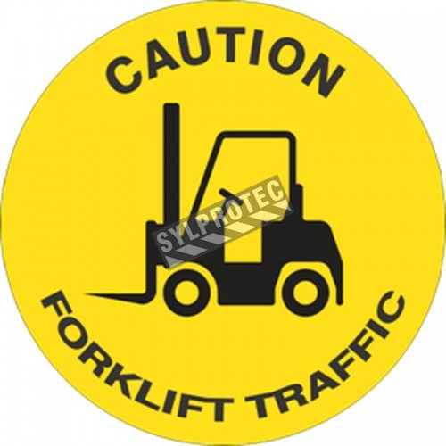 """CAUTION FORKLIFT TRAFFIC"" adhesive anti-skid laminated vinyl floor sign, various sizes & languages."
