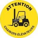 Affiche de sol ronde «ATTENTION CHARIOTS ÉLÉVATEURS» en autocollant laminé antidérapant, langues & formats divers.