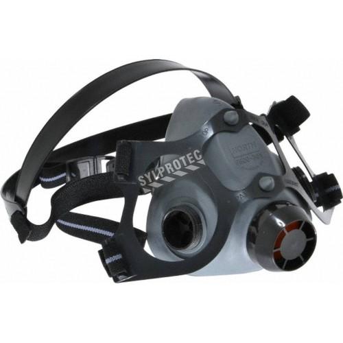 Demi-masque en élastomère de série 5500 de North, homologué NIOSH, compatible avec filtres & cartouches de série N de North.