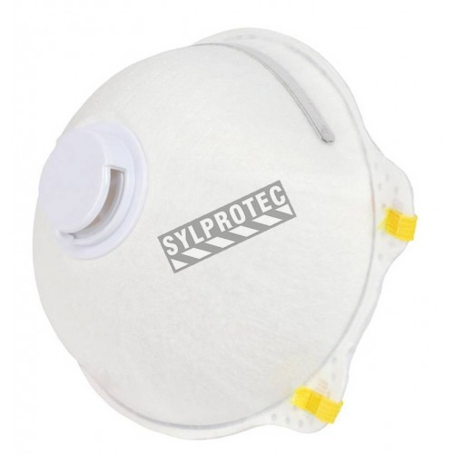 Masque respiratoire N95 avec valve de Wasip. Efficace contre particules solides & liquides sans huile. Boite de 10 unités.
