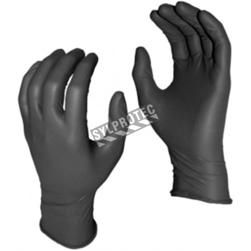 Grease Monkey 8 mil powder-free black nitrile disposable gloves. CFIA approved. Sizes M (8) to XXL (11). 50 gloves/box.