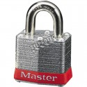 Regular padlock 1 9/16 in (40 mm) wide laminated steel body with case hardened steel shackle.