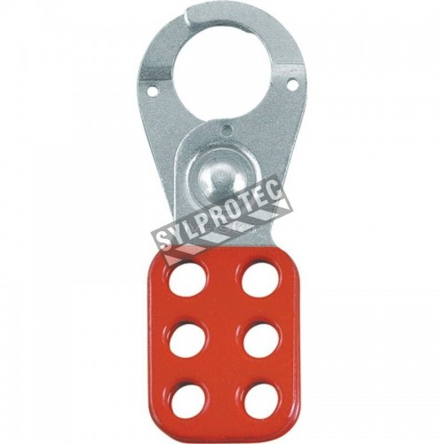 Metal lockout hasp with 1 in diameter jaw opening.