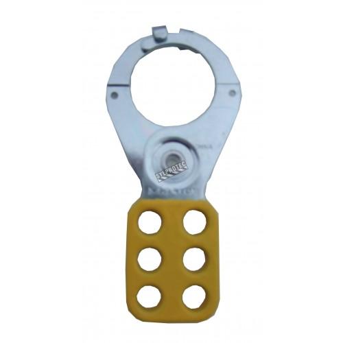 Moraillon (pince à verrouillage) jaune pour 6 cadenas, ayant une ouverture de mâchoire de 1 po.