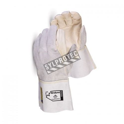 11 in long side-split & full grain leather welding glove with wing thumb & leather-welts.