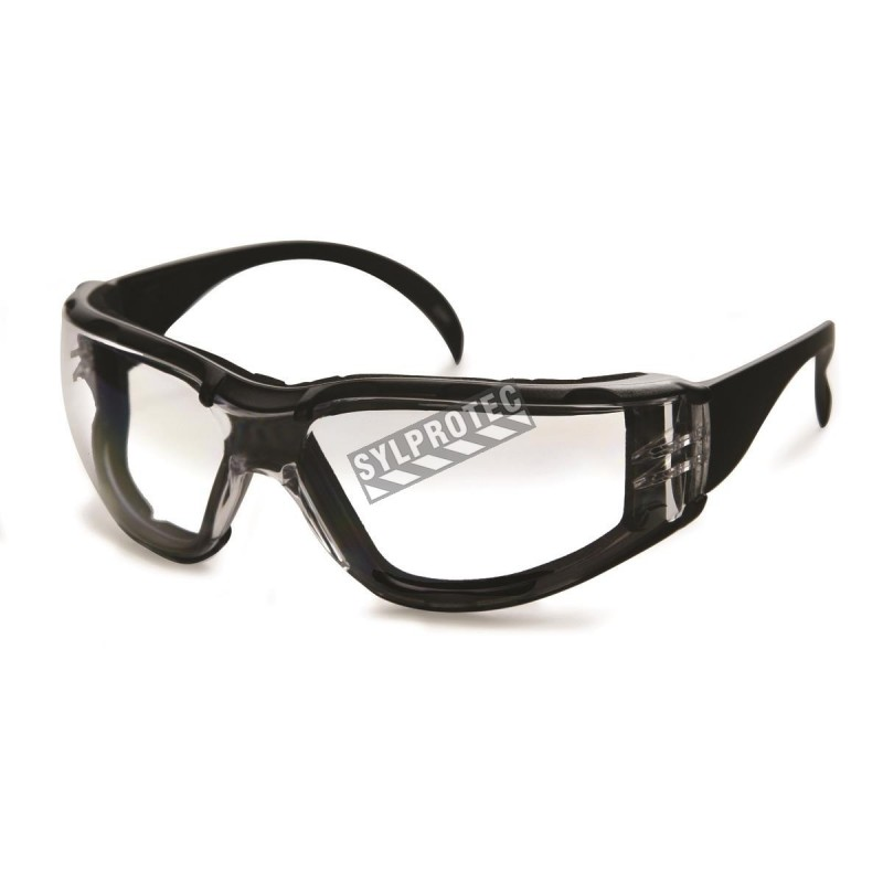 Cee Tec protective eyewear, clear polycarbonate lenses with foam seal CSA approved for impact protection.