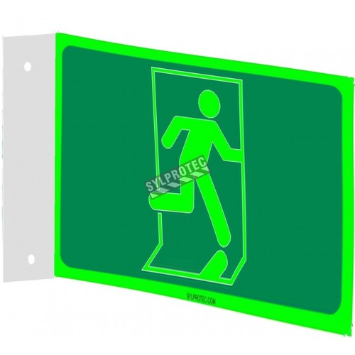 Affiche Sortie pictogramme photoluminescent running man sans flèche choix formats matériaux et formes