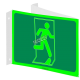 Photo luminescent pictogram sign running man without arrow in various sizes shapes materials