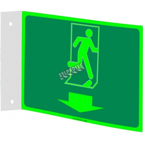Affiche Sortie pictogramme photoluminescent running man flèche en bas choix formats matériaux et formes