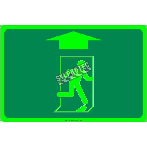 Affiche Sortie pictogramme photoluminescent running man avec flèche haut choix formats matériaux et formes