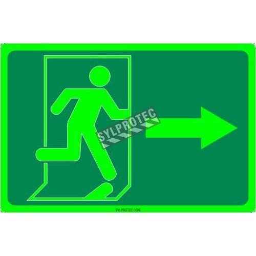 Affiche Sortie pictogramme photoluminescent running man avec flèche a droite choix formats matériaux et formes